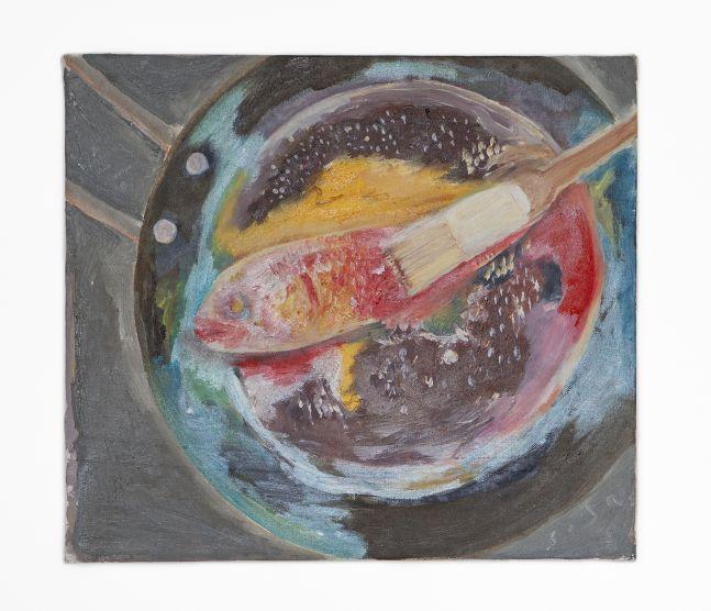 SOSA JOSEPH  Fish Marinated, 2019  Oil on canvas  12.4 x 14.2 in / 31.7 x 36 cm