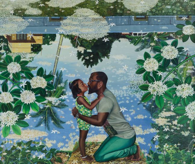 RATHEESH T.  Kiss (Clear Pond), 2016  Oil on canvas  72 x 84.2 in / 183 x 214 cm Collection: Nasher Museum of Art at Duke University