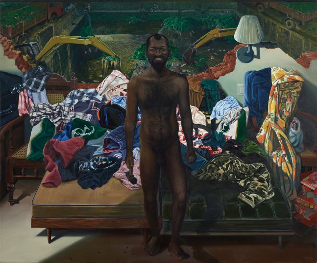 RATHEESH T.   I Am (Cleaning Pond), 2015  Oil on canvas   78 x 96 in / 198 x 244 cm