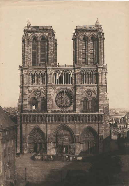 "Charles NÈGRE (French, 1820-1880) Notre-Dame, Paris, circa 1853 Salt print from a waxed paper negative 32.8 x 23.1 cm Signed ""C. Nègre"" in the negative"