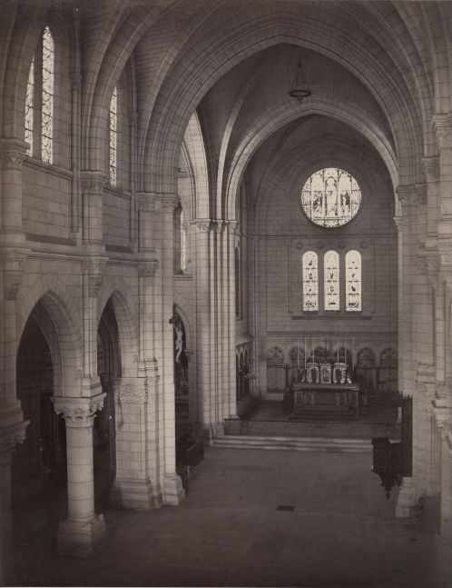 """Charles MARVILLE (French, 1813-1879) Interior of a Cathedral, circa 1864 Albumen print from a collodion negative 36.0 x 28.0 cm mounted on 61.2 x 43.9 cm paper Photographer's blindstamp """"CH MARVILLE / PHOTOGRAPHE DU MUSÉE IMPERIAL DU LOUVRE"""" on mount"""