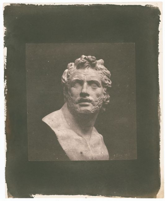 """William Henry Fox TALBOT (English, 1800-1877) Bust of Patroclus*, 1842 Salt print from a calotype negative 13.0 x 12.8 cm on 23.0 x 18.8 cm paper Dated """"9 August 1842"""" in the negative. Inscribed """"LA794"""" in ink on verso."""