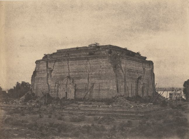"Captain Linnaeus TRIPE (English, 1822-1902) ""Mengoon, Pagoda from NW."" Burma, 1855 Albumenized salt print from a waxed paper negative 25.1 x 34.1 cm"