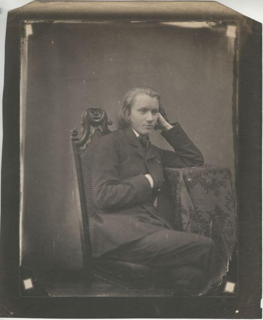 Bertha Wehnert-Beckmann (German, 1815-1901) Johannes Brahms, Leipzig, 1853 Salt print from collodion negative 22.3 x 17.5 cm