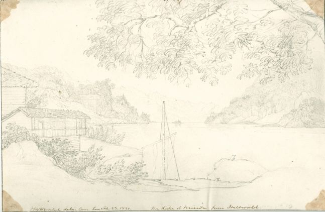 "Sir John Frederick William HERSCHEL (English, 1792-1872) ""No 507 The Lake of Brienz from Iseltwald"", 23 September 1821 Camera lucida drawing, pencil on paper 20.3 x 30.6 cm Numbered, signed, dated and titled ""No 507 / JFW Herschel delin. Cam. Luc. / Sep. 23, 1821. / The Lake of Brienz from Iseltwald."" in ink. Inscribed ""Iseltwald"" two times in pencil on verso"