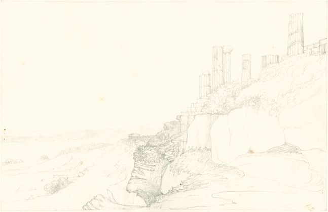 "Sir John Frederick William Herschel (English, 1792-1872) ""No 391 View from below the Temple of Juno, Girgenti Sicily. Temple of Concord in the distance"", 27 June 1824 Camera lucida drawing, pencil on paper 20.0 x 31.0 cm on 25.1 x 38.4 cm paper"