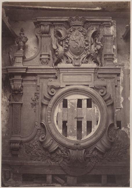 "Louis-Emile DURANDELLE (French, 1839-1917) Decorative element, Opéra Garnier, Paris, 1860s Albumen print from a collodion negative 39.4 x 27.6 cm mounted on 54.6 x 43.9 cm paper ""Delmaet & Durandelle"" blindstamp on mount"