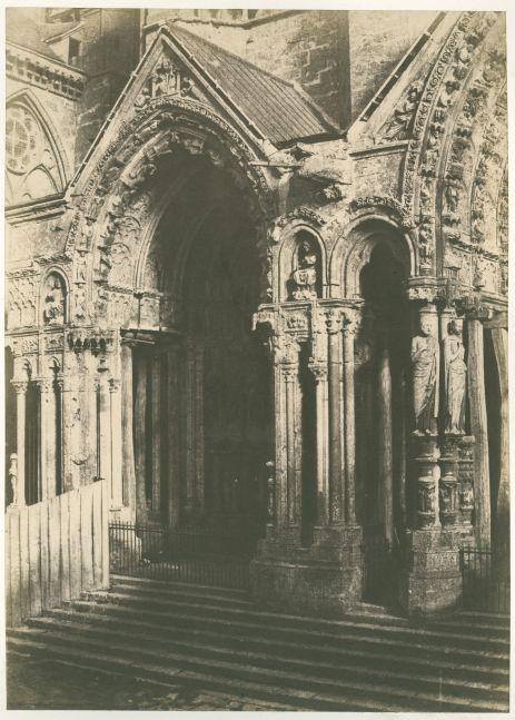 Charles MARVILLE (French, 1813-1879) Cathédrale de Chartres, portail septentrional, circa 1853-1854 Blanquart-Évrard process salt print from a paper negative 35.2 x 25.3 cm on 55.4 x 38.6 cm paper