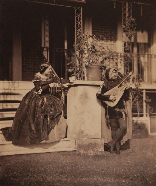 """Leonida CALDESI and Mattia MONTECCHI (Italian, 1822-1891 & Italian, 1816-1871) The Serenade (Mario and Grisi in """"Il Trovatore""""), 1857, Albumen print from a collodion negative, 41.8 x 34.9 cm"""