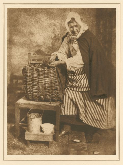 David Octavius HILL & Robert ADAMSON (Scottish, 1802-1870 & 1821-1848) Mrs. Barbara (Johnstone) Flucker, Newhaven Carbon print by Jessie Bertram, 1916, derived from the original calotype negative by Hill and Adamson, 1843-1847 20.4 x 15.2 cm mounted on 38.3 x 26.5 cm paper