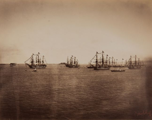 "Gustave LE GRAY (French, 1820-1884) ""L'escadre française en rade de Cherbourg""*, 5 August 1858 Albumen print from a collodion negative 30.1 x 38.3 cm mounted on 43.0 x 62.3 cm paper Photographer's red signature stamp. Titled ""L'escadre française en rade de Cherbourg"" in pencil with photographer's oval blindstamp ""PHOTOGRAPHIE / GUSTAVE LE GRAY & Cº / PARIS"" on mount."