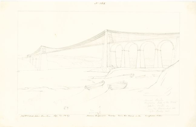 "Sir John Frederick William HERSCHEL (English, 1792-1872) ""No 566 Menai Suspension Bridge From the Beach on the Anglesea Side"", 29 September 1827 Camera lucida drawing, pencil on paper 19.9 x 30.9 cm on 24.3 x 37.7 cm paper Watermark ""J Whatman Turkey Mill"". Numbered, signed, dated and titled ""No 566 / JFW Herschel delin Cam. / Luc. Sep 29, 1827. / Menai Suspension Bridge From the Beach on the Anglesea Side"" in ink in border, and ""Eye 9 inches = x. / Menai Bridge / Anglesea Side of the Strait / from the North or from the Beaumaris side of / the bridge road"" in pencil. Inscribed ""Menai Bridge / [illegible] from Anglesea side"" in pencil on verso."
