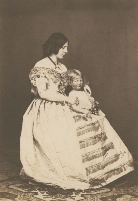 Roger FENTON (English, 1819-1869) Grace Fenton and child, 1850s Salt print from a wet collodion negative 16.2 x 11.3 cm