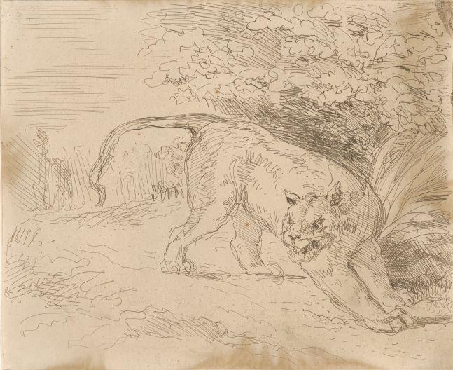 """Eugène DELACROIX (French, 1798-1863) """"Tigre en arrêt"""", 1854 Cliché-verre (first state) salt print 15.7 x 19.2 cm tipped onto 31.1 x 31.0 cm paper Titled with """"1st essai mars 1854 phot. par Cuvelier"""" in pencil on mount"""