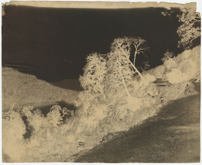 "Dr. John MURRAY (Scottish, active in India, 1809-1898) View of lake, India, circa 1858-1862 Calotype negative, waxed, with selectively applied pigment 38.2 x 47.2 cm Inscribed ""25/12"" in ink on verso"