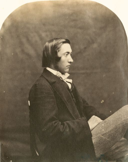 """Lewis CARROLL (Charles Lutwidge Dodgson) (English, 1832-1898) """"Reginald Southey"""", 1859 Albumen print from a collodion negative 14.4 x 11.6 cm, arched top, mounted on album page"""