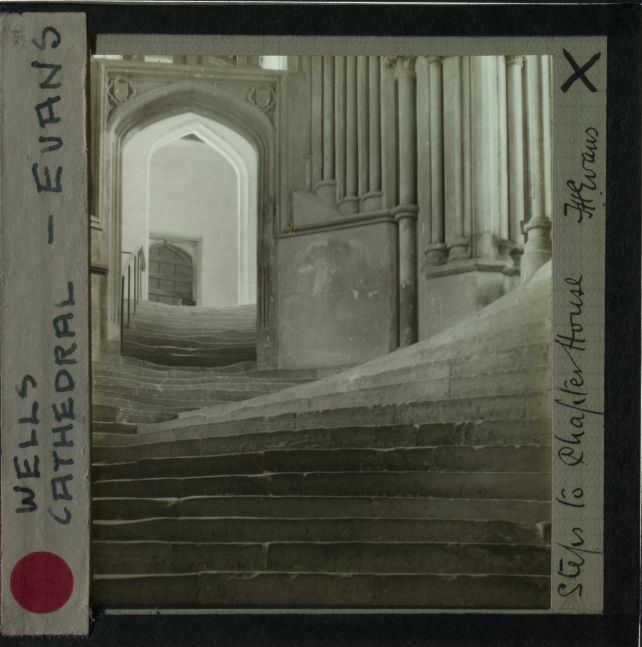 """Frederick H. EVANS (English, 1853-1943) """"A Sea of Steps, Wells Cathedral"""", 1903 Platinum print 23.6 x 19.3 cm double mounted on 42.9 x 38.1 cm paper Signed and titled by the artist in ink on accompanying board"""