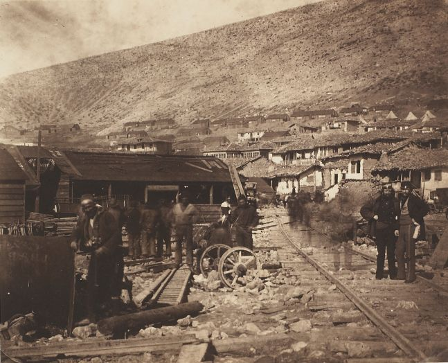 "Roger Fenton (English, 1819-1869) ""The Railway Yard, Balaklava"" in the Crimea, 1855 Salt print from a collodion negative"