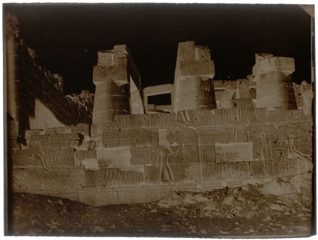 "John Beasley GREENE (American, born in France, 1832-1856) Great Hypostyle Hall, outer face, north wall, Karnak, 1854-1855 Waxed paper negative 24.0 x 31.8 cm  Watermark ""J Whatman"""