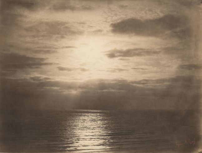Gustave LE GRAY (French, 1820-1884) Effet de soleil dans les nuages - Océan, Normandy*, 1856 Albumen print from a collodion negative 30.7 x 40.3 cm mounted on 53.0 x 67.5 cm paper Photographer's red signature stamp. Photographer's blindstamp on mount.