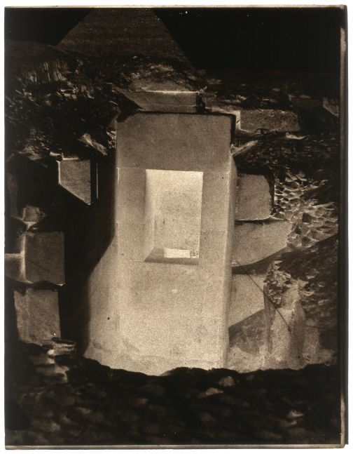 John Beasley GREENE (American, born in France, 1832-1856) Mariette's excavations, granite door found to the left of the Sphinx, Giza, December 1853 Waxed paper negative 31.2 x 24.3 cm