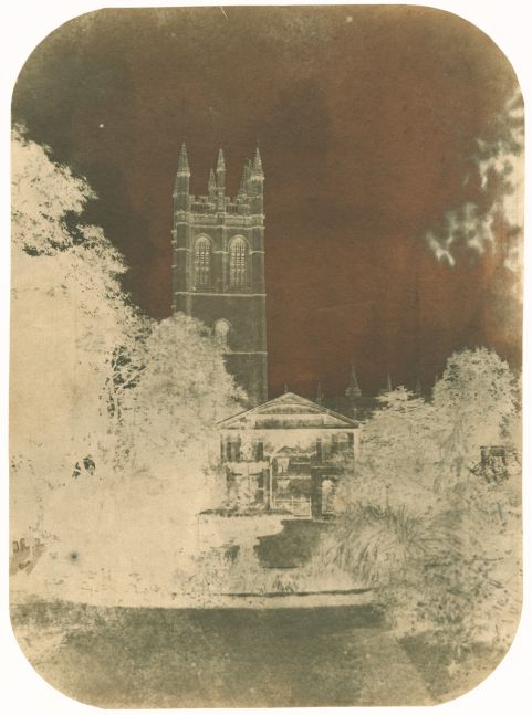 """Nevil STORY-MASKELYNE (English, 1823-1911) Magdalen College, Oxford, 1840s Calotype negative 20.7 x 15.2 cm, corners rounded Initialed """"SM"""" [Story-Maskelyne] in the negative"""