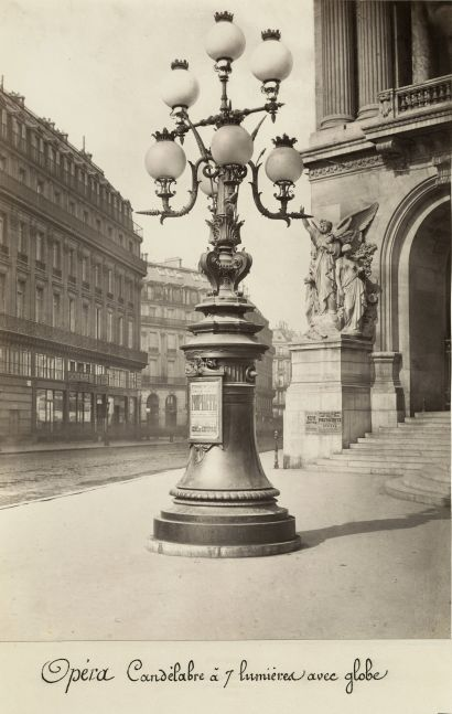 """Charles MARVILLE (French, 1816-1879) """"Opéra Candélabre à 7 lumières avec globe"""", 1864-1870 Albumen print from a collodion negative 35.2 x 24.8 cm, mounted Numbered """"81"""" in pencil, """"Collection Debuisson"""" wetstamp, with artist's and """"Musée Imperial du Louvre"""" blindstamp on mount. Title inscribed in ink on affixed label."""