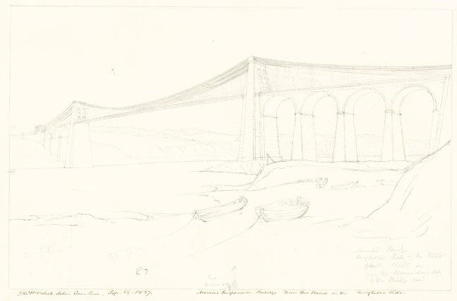 """Sir John Frederick William HERSCHEL (English, 1792-1872) """"No 566 Menai Suspension Bridge From the Beach on the Anglesea Side"""", 29 September 1827 Camera lucida drawing, pencil on paper 19.9 x 30.9 cm on 24.3 x 37.7 cm paper Watermark """"J Whatman Turkey Mill"""". Numbered, signed, dated and titled """"No 566 / JFW Herschel delin Cam. / Luc. Sep 29, 1827. / Menai Suspension Bridge From the Beach on the Anglesea Side"""" in ink in border, and """"Eye 9 inches = x. / Menai Bridge / Anglesea Side of the Strait / from the North or from the Beaumaris side of / the bridge road"""" in pencil. Inscribed """"Menai Bridge / [illegible] from Anglesea side"""" in pencil on verso."""