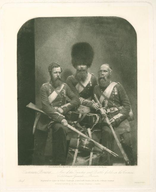 "Joseph CUNDALL and Robert HOWLETT (English, 1818-1895 & 1830-1858) ""Crimean Braves"" Nunn, Potter and Deal, Coldstream Guards, Aldershot Garrison, July 1856 Photogalvanograph proof on laid India paper 24.6 x 19.9 cm"