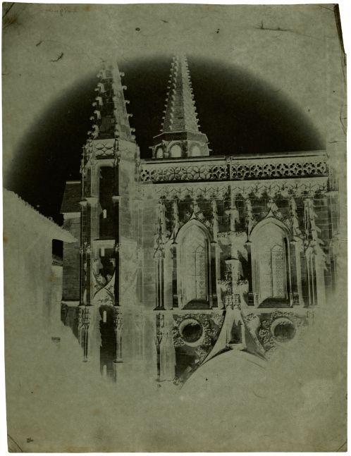 "Charles NÈGRE (French, 1820-1880) Saint Pierre Basilica, Avignon , 1852 Waxed paper negative 22.1 x 16.8 cm Watermark ""J Whatman"""