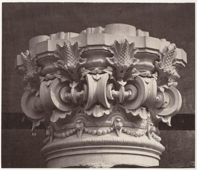 """Louis-Emile DURANDELLE (French, 1839-1917) Chapiteau des colonnes supportant la 1re volée du grand escalier, from""""Le Nouvel Opéra de Paris, Sculpture Ornementale"""", 1875 Albumen print from a glass negative 19.9 x 23.3 cm mounted on 44.6 x 63.0 cm paper Inscribed """"68"""" in the negative. Stamped """"26"""" in ink, titled """"LE NOUVEL OPÉRA DE PARIS / SCULPTURE ORNEMENTALE"""" with """"DUCHER et Cie, Editeurs. / Durandelle, Photographe."""" lithographed, on mount."""