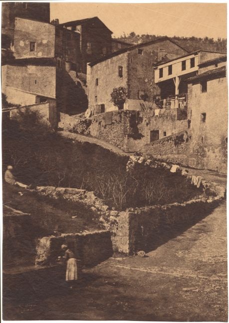 "Charles NÈGRE (French, 1820-1880) Une rue à ""Grasse""*, 1852 Waxed salt print from a waxed paper negative 32.7 x 23.2 cm Signed ""C. Nègre"" and titled ""Grasse"" in the negative"