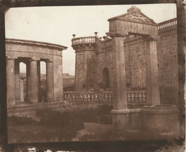 """Rev. Calvert Richard JONES (Welsh, 1802-1877) """"View in the Late Mr. Frere's Garden, Valletta"""" Malta, 1846 Salt print from a calotype negative 16.8 x 21.2 cm on 18.9 x 22.8 cm paper Numbered """"4."""" and titled in the negative. Inscribed """"LA694"""" in black ink on verso."""