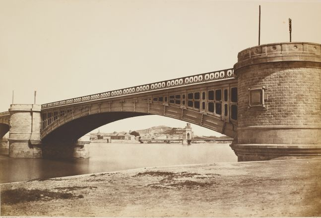 """Édouard-Denis BALDUS (French, 1813-1889) """"Tarascon. Viaduc"""", 1855 Albumen print from a paper negative 36.2 x 54.0 cm mounted on 45.5 x 60.8 cm paper Title and signature """"E. Baldus"""" stamped on mount"""