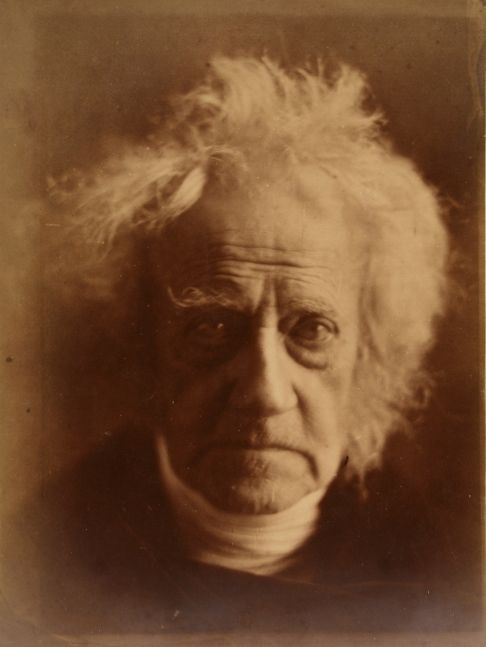 """Julia Margaret CAMERON (English, born in India, 1815-1879) Sir J. F. W. Herschel, April 1867 Albumen print from a collodion negative 35.7 x 26.4 cm mounted on 43.1 x 32.3 cm paper Signed, dated, and inscribed by the photographer """"April 1867 From life not enlarged taken at Sir John Herschel's own residence Collingwood by Julia Margaret Cameron"""" in ink on mount recto"""