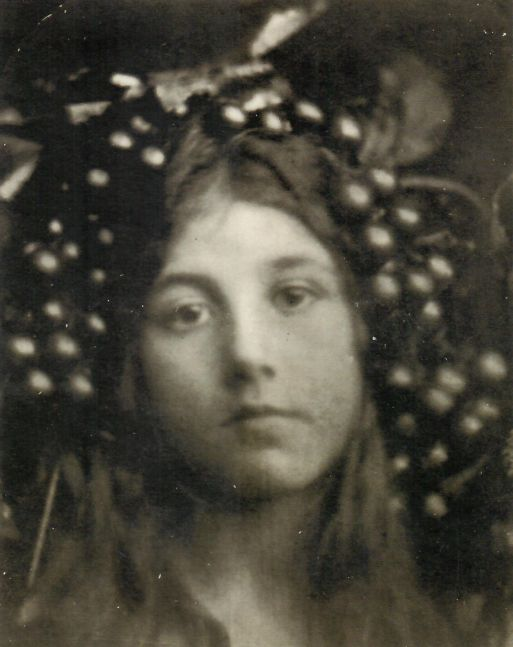 """Julia Margaret CAMERON (English, born in India, 1815-1879) """"Circe"""" (Kate Keown), 1865 Albumen print 25.2 x 20.2 cm mounted on 32.5 x 27.6 cm paper Signed, titled, numbered """"2"""", annotated """"Fr. Life"""" in ink, and embossed """"Colnaghi"""" stamp, on mount"""