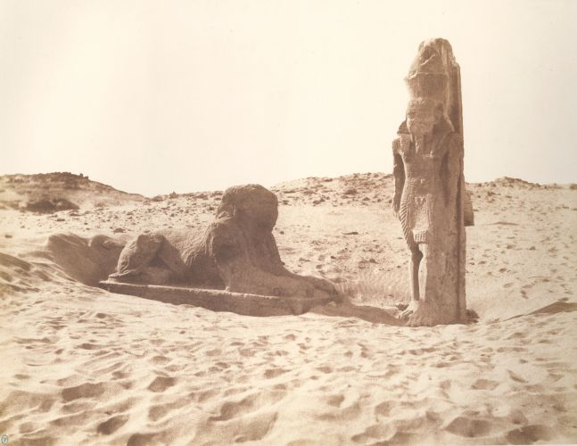 """Félix TEYNARD (French, 1817-1892) """"Sebouah. Temple - Colosse et Sphinx de la Partie Gauche de l'Avenue. Pl. 131"""", 1851-1852 Salt print, 1853-1854, from a waxed paper negative 23.8 x 30.7 cm, mounted Photographer's monogram stamp in green ink. Oval blindstamp, printed title and credits on mount."""