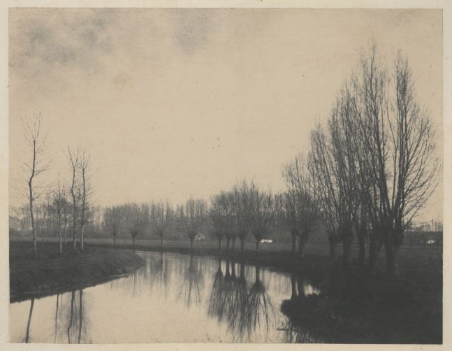 Eugène CUVELIER (French, 1837-1900) Willows Along the Scarp River, near Arras*, late 1850s Salt print from a paper negative 20.0 x 26.0 cm mounted on 54.1 x 69.3 cm paper