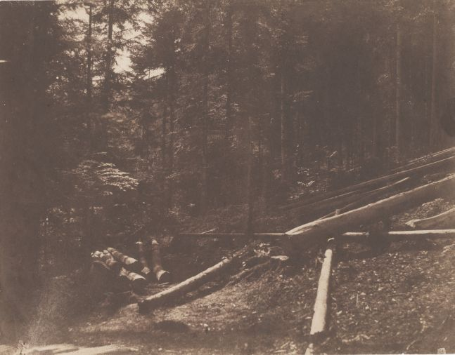 V. DIJON (French) Logging scene in a forest*, 1850s Salt print from a paper negative 21.5 x 27.6 cm