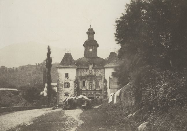 """Joseph vicomte VIGIER (French, 1821-1894) """"Lestelle. Notre-Dame de Bétharam. (Route d'Argelès à Pau)""""*, 1853 Salt print from a paper negative 22.4 x 31.8 cm"""