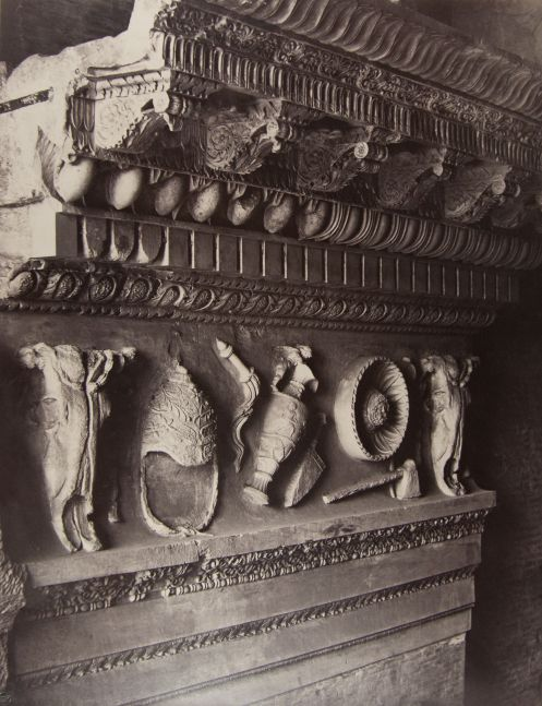 "Louis-Auguste & Auguste-Rosalie BISSON (BISSON FRÈRES) (French, 1814-1876 & 1826-1900) Entablature fragment, Temple of Vespasian, Rome, circa 1857 Coated salt or albumen print from a glass negative 44.4 x 34.6 cm mounted on 70.9 x 54.8 cm paper Bisson Frères blindstamp. Signature stamp in red ink, and inscribed ""226 - Détail provenant du Temple de Vespasien Entablement"" in pencil, on mount."