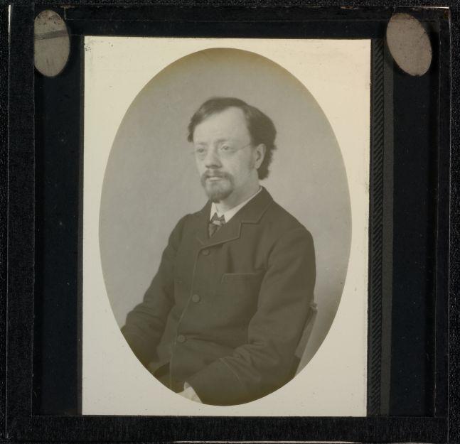 Frederick H. EVANS (English, 1853-1943) Self portrait, 1890s Lantern slide 6.7 x 4.7 cm oval, masked to 7.0 x 5.4 cm on 8.2 x 8.3 cm glass slide