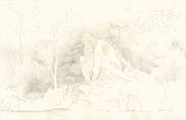 "Sir John Frederick William HERSCHEL (English, 1792-1872) ""No 358 Colossal Statue 'Father Apennine' by John of Bologna in the Grand-ducal garden of Pratolino near Florence"" , 1824 Camera lucida drawing, pencil on paper"