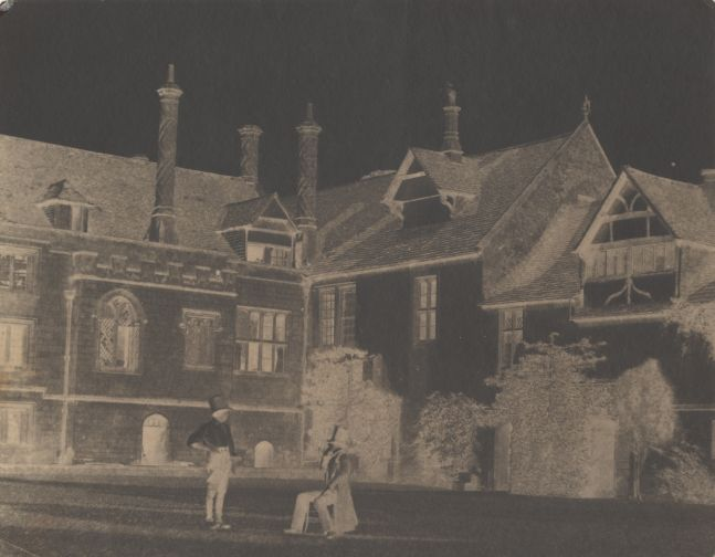 William Henry Fox TALBOT (English, 1800-1877) Talbot converses with an Acolyte in the North Courtyard of Lacock Abbey, 1841-1844 Calotype negative, waxed 15.9 x 20.0 cm