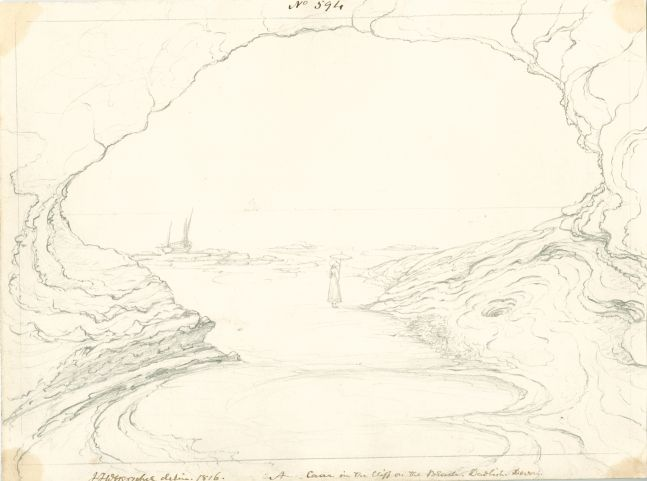 """Sir John Frederick William HERSCHEL (English, 1792-1872) """"No 594 A cave in the cliff on the beach. Dawlish, Devon."""", 1816 Camera lucida drawing, pencil on paper 20.4 x 27.3 cm Numbered, signed, dated and titled """"No 594 / JFW Herschel delin. 1816. / A cave in the cliff on the beach. Dawlish, Devon."""" in ink. Inscribed """"cave on the main [illegible] / Dawlish. / JFW. 1816"""" in ink on verso"""