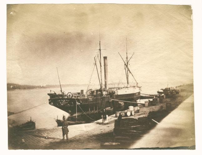 """Charles NÈGRE (French, 1820-1880) The port at Toulon, circa 1853 Salt print from a collodion on glass negative 15.3 x 19.7 cm Inscribed """"E-33 / No 91"""" by André Jammes in pencil on verso"""