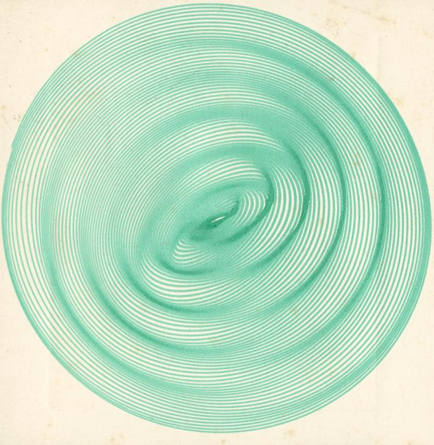 """Frederick H. EVANS (English, 1853-1943) Twin elliptical pendulum curve, 1899-1910 Harmonograph drawing in green ink 9.2 x 9.0 cm mounted on 16.2 x 12.4 cm brown paper  """"FHE"""" blindstamp on mount"""
