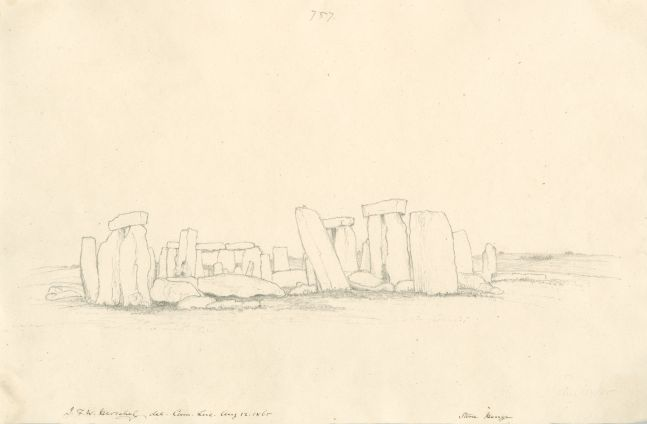 """Sir John Frederick William HERSCHEL (English, 1792-1872) """"No 757 Stone Henge"""", 12 August 1865 Camera lucida drawing, pencil on paper 25.2 x 38.5 cm Numbered, signed, dated and titled """"757 / J.F.W. Herschel del Cam. Luc. Aug 12, 1865 / Stone Henge"""" in ink. Inscribed """"Stone Henge / Aug 12, 1865"""" in pencil on verso"""