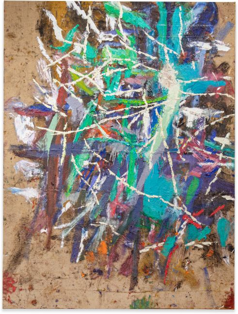 Spencer Lewis, Untitled; 2020; Acrylic, oil, enamel, spray paint, and ink on jute; 89h x 67w in