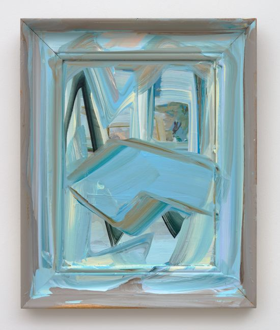 abstract painting in blues and yellows in a found frame